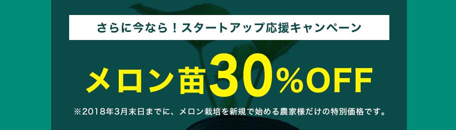 さらに今なら!スタートアップ応援キャンペーン メロン苗30%OFF※2018年3月末日までに、メロン栽培を新規で始める農家様だけの特別価格です。